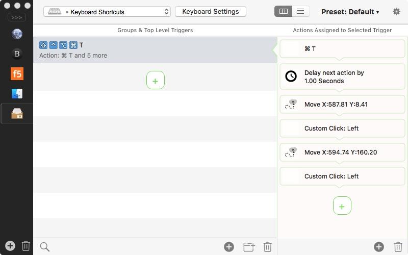 Screenshot of shortcut in Better Touch Tool